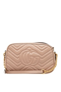 Бежевая сумка из кожи GG Marmont Gucci