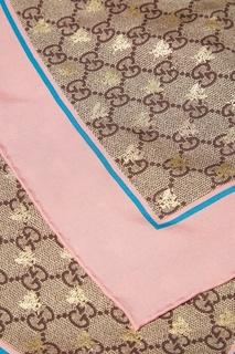 Платок GG Bees с розовой полосой Gucci