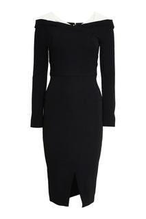 Черное платье-футляр с прозрачными деталями Roland Mouret