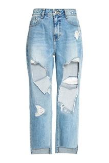 Голубые джинсы с прорезями Sjyp