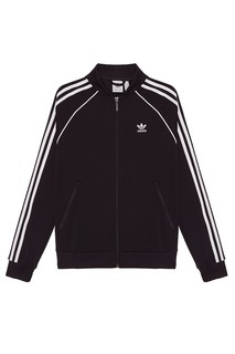Черная олимпийка с полосками на рукавах Adidas
