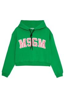 Хлопковое худи с логотипом Msgm