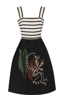 Шелковое приталенное платье с декорированной юбкой Oscar de la Renta