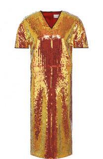 Приталенное платье с V-образным вырезом и пайетками Victoria by Victoria Beckham