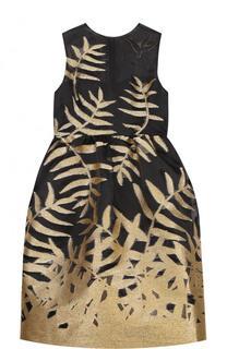 Приталенное платье-миди с контрастной вышивкой Oscar de la Renta
