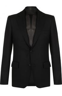 Однобортный шерстяной пиджак с кожаной отделкой Alexander McQueen