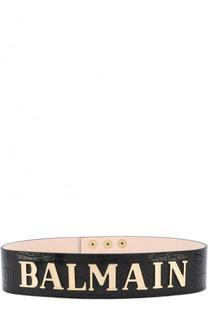 Кожаный пояс с металлическими заклепками и логотипом бренда Balmain