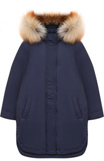 Пуховое пальто с меховой отделкой на капюшоне Alexander Terekhov