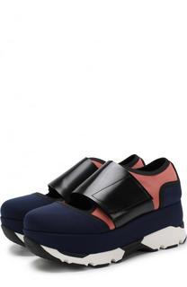 Текстильные ботинки с ремешком на платформе Marni