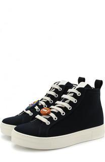 Высокие кеды на шнуровке с декором Fendi Roma