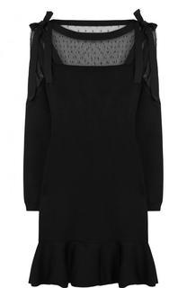 Мини-платье с оборкой и кружевной вставкой REDVALENTINO