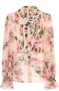 Прозрачная блуза с оборками и цветочным принтом Dolce & Gabbana