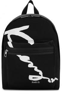 Текстильный рюкзак с внешним карманом на молнии Kenzo