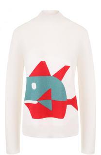 Шерстяной свитер с воротником-стойкой и принтом Emporio Armani