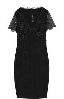 Приталенное мини-платье с кружевными рукавами St. John