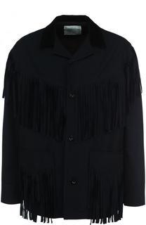 Хлопковая куртка на пуговицах с бахромой Sacai