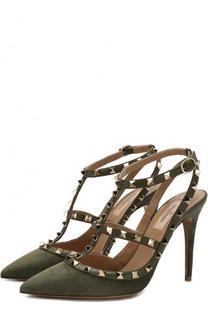 Замшевые туфли Rockstud с ремешками на шпильке Valentino