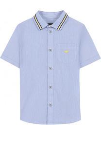 Хлопковая рубашка с короткими рукавами Armani Junior