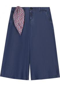 Расклешенные хлопковые джинсы с декоративным платком Armani Junior