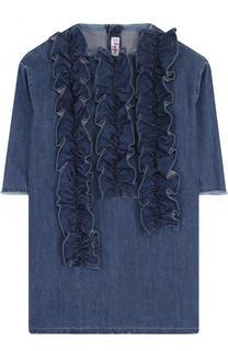 Джинсовое мини-платье прямого кроя с оборками Il Gufo