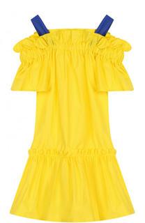 Хлопковое мини-платье на широких бретельках Il Gufo