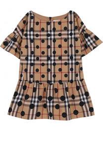 Хлопковое мини-платье с принтом и оборками Burberry