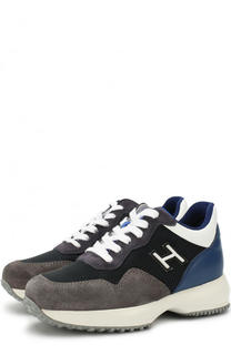 Текстильные кроссовки с кожаной отделкой на шнуровке с молнией Hogan