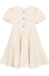 Жаккардовое мини-платье с декоративными пуговицами Dolce & Gabbana