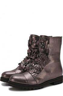 Кожаные ботинки с цветочной аппликацией Jimmy Choo