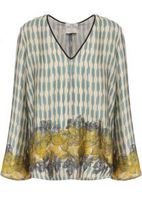 Шелковая блуза свободного кроя с принтом Forte_forte