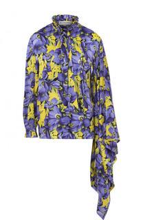 Шелковая блуза асимметричного кроя с принтом Balenciaga