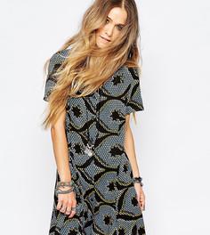 Чайное платье с принтом на пуговицах спереди Reclaimed Vintage - Мульти