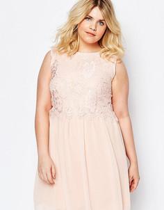Платье с кружевным верхом Club L Plus - Розовый
