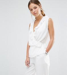 Блузка без рукавов с запахом спереди и оборками Alter Petite - Кремовый