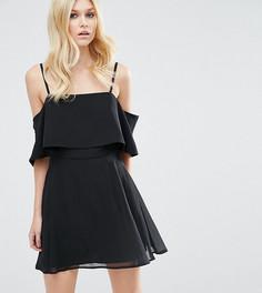 Платье мини с открытыми плечами ASOS PETITE - Черный