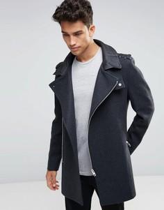 Темно-серая шерстяная куртка с асимметричной молнией River Island - Серый