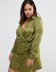 Атласное платье большого размера с запахом и завязкой Missguided - Зеленый