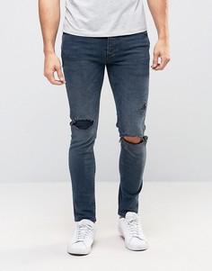 Темные джинсы скинни с рваными коленями River Island - Синий