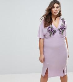 Платье миди с глубоким вырезом и вышивкой Club L Plus - Фиолетовый