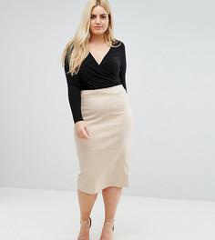 Удлиненная юбка-карандаш с завышенной талией ASOS CURVE - Бежевый