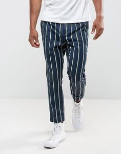 Строгие суженные книзу брюки в полоску ASOS - Темно-синий