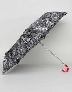 Зонтик с эффектом змеиной кожи Lulu Guinness Superslim 2 - Черный