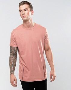 Удлиненная футболка c молниями по бокам Brave Soul - Розовый