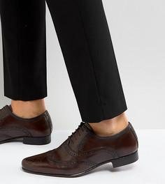 Коричневые кожаные броги-оксфорды для широкой стопы ASOS - Коричневый