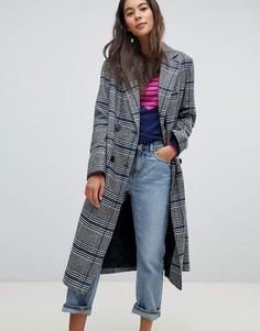 Двубортное пальто в клетку Helene Berman - Мульти