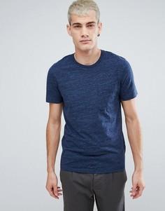 Меланжевая футболка с карманом Selected Homme - Темно-синий