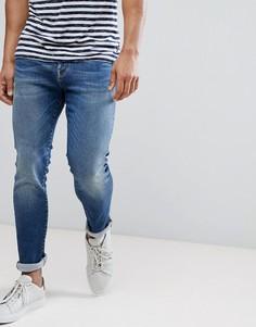 Узкие эластичные джинсы итальянского производства Selected Homme - Синий