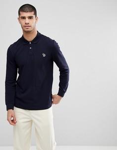 Темно-синяя футболка-поло с длинными рукавами и логотипом PS Paul Smith - Темно-синий