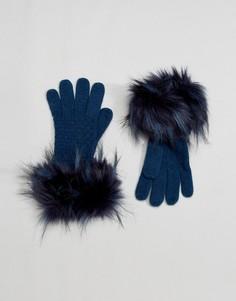 Перчатки с декоративной строчкой Alice Hannah - Темно-синий