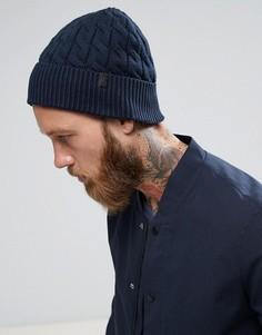 Темно-синяя шапка-бини Selected Homme - Темно-синий